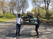 volunteers with styrofoam trash