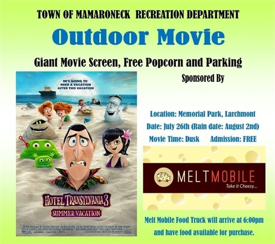 Town Outdoor Movie in the Park, July 26th at Memorial Park