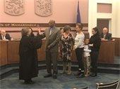 Justice Dolores Battalia swearing in Councilman Jeffery King
