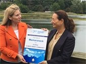 Town Supervisor Nancy Seligson with NYS Dept. of Environmental Conservation's Acting Regional Director, Kelly Turturro