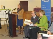 Nancy Seligson with Congressman Eliot Engel and US EPA Regional Director, Judith Enck at Mamaroneck Town Center