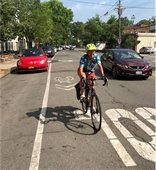 Cyclist using Sharrow in Village of Larchmont