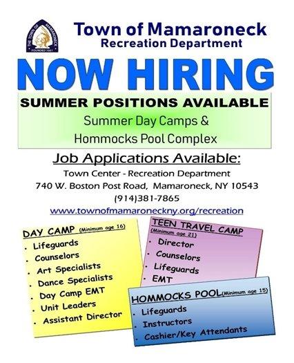 Recreation Department's Now Hiring flyer
